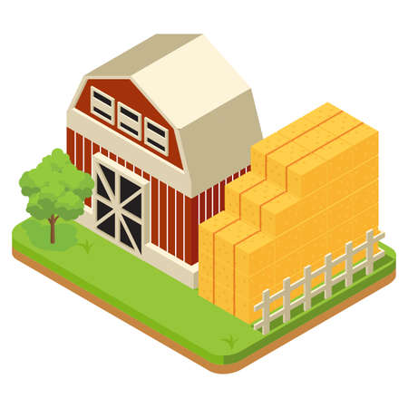 The composition of agriculture is regulated isometrically with livestock and livestock vehicles and fishing is attempted isolated vector illustration - Vector Vecteurs