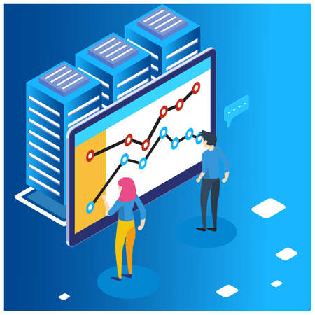 The concept of business strategy. Data charts or financial diagrams, statistical data information. Illustration of laptop isometric and infographics.