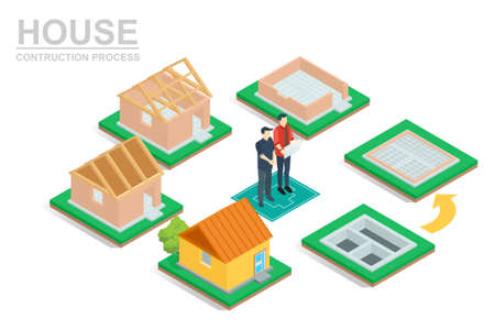 Isometric set stage-by-stage construction of a brick house. House building process. Foundation pouring, construction of walls, roof installation and landscape design, vector illustration. 向量圖像