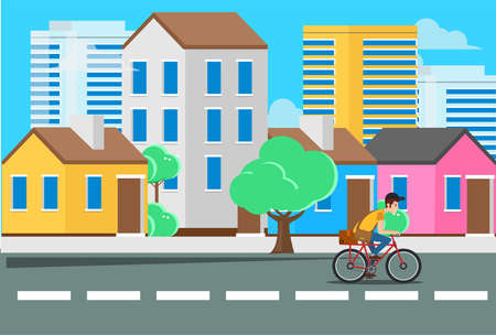 flat illustration of a young man riding a scooter with a girlfriend on the streets with urban scenery can use for web landing, vector illustration Illusztráció