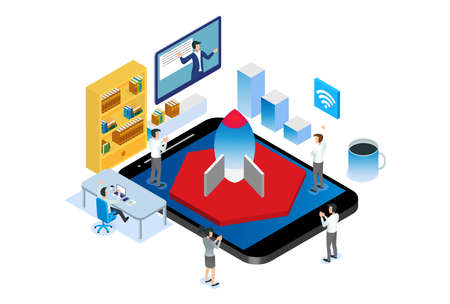 Modern Isometric Smart Startup Environment Illustration, Suitable for Diagrams, Infographics, Book Illustration, Game Asset, And Other Graphic Related Assets