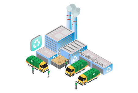Modern Isometric Smart Recycling Factory Technology Illustration, Suitable for Diagrams, Infographics, Book Illustration, Game Asset, And Other Graphic Related Assets