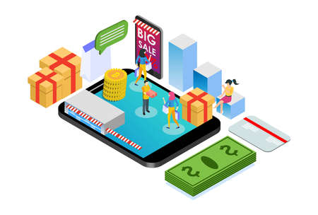 Modern Isometric Smart Online Shopping E-Commerce Delivery Illustration in White Isolated Background With People and Digital Related Asset 矢量图像