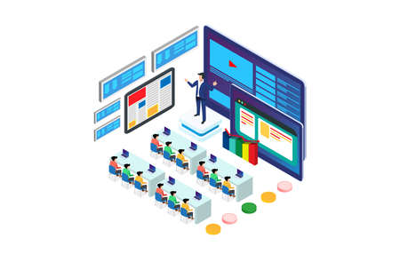 Isometric Business Training Event Remote Corporate teaching Meeting learn Isometric People 3D Webinar Online Manager Web Event Conference Tablet App Leadership finance employee Training Session Vector