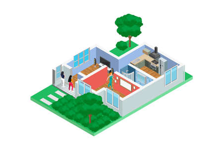 Illustration Isometric Examples of home design sketches in 3D, Suitable for Diagrams, Infographics, Game Asset, And Other Graphic Related Assets