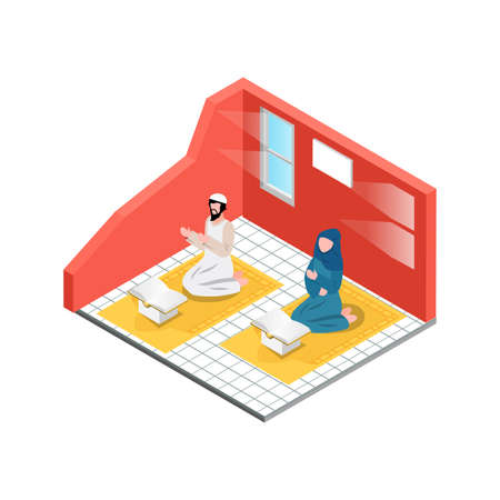 Isometric Activity Read the Qur'an in the month of Ramadan which is full of blessings Illustration in Blue Isolated Background With People and Digital Related Asset
