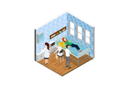 Modern Isometric Medical Hospital Bed Patient Room Isometric. Health Family Life Care Patient Disease Hospital. Suitable for Diagrams, Infographics, Game Asset, And Other Graphic Related Assets