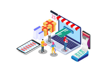 Isometric Digital E-Commerce Online Shopping Delivery Illustration, Suitable for Diagrams, Infographics, Book Illustration, Game Asset, And Other Graphic Related Assets Illustration