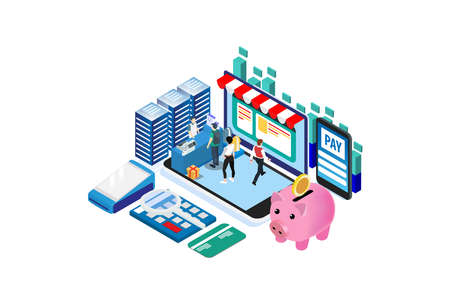 Modern Isometric Smart Cashless E-Payment Lifestyle, Suitable for Diagrams, Infographics, Illustration, And Other Graphic Related Assets
