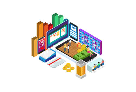 Modern Isometric Digital Smart Online Shopping E-Commerce Delivery Illustration in White Isolated Background With People and Digital Related Asset Illustration