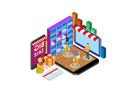 Modern Isometric Activity Online shopping concept with character, Suitable for Diagrams, Infographics, Game Asset, And Other Graphic Related Assets