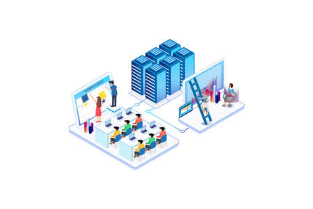 Isometric Activity People in co working office concept design. Can use for web banner, info graphics, hero images. Flat isometric illustration isolated on white background.
