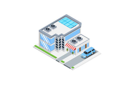Modern Luxury Isometric Green Eco Friendly House With Solar Panel, Suitable for Diagrams, Infographics, Illustration, And Other Graphic Related Assets Ilustração