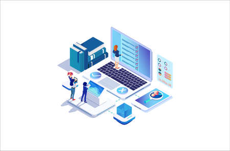 Modern Isometric Online survey concept with characters. illustration isolated on white background, Can use for web banner, infographics, . Suitable for Diagrams, Graphic Related Asset
