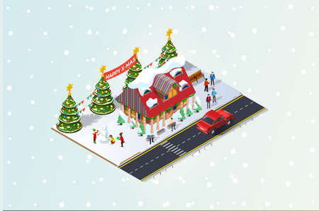 Isometric illustrationHappy people gather together and celebrate Christmas around the tree under the snow, Suitable for Diagrams, Infographics, Book Illustration, And Other Graphic Related Assets