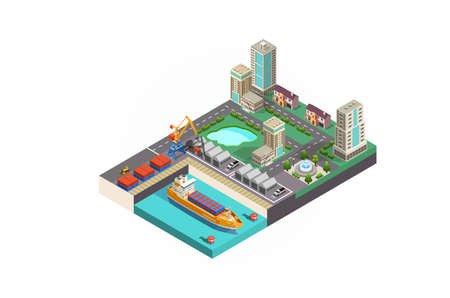 Modern Vector isometric icon or infographic element representing low poly cargo port with cranes loading containers on the container ship, trucks, forklifts