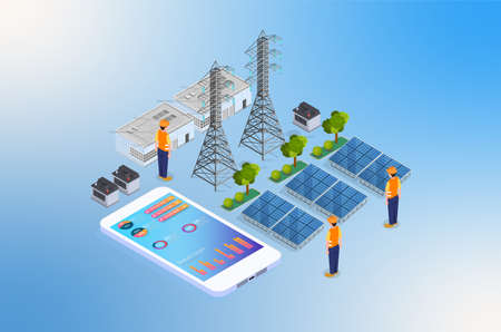 Modern Isometric Renewable Energy Illustration, Web Banners, Suitable for Diagrams, Infographics, Book Illustration, Game Asset, And Other Graphic Related Assets