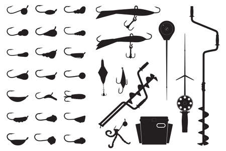 a Vector winter fishing set. Silhouette of ice screw, hook, jig lure, rod, box, spoon and mormyshka