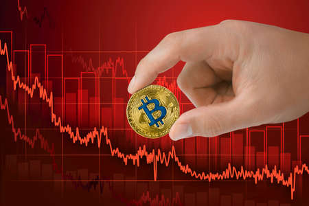Fall in exchange bitcoin. Decrease of value cryptocurrency. Falling downtrend price graph background.