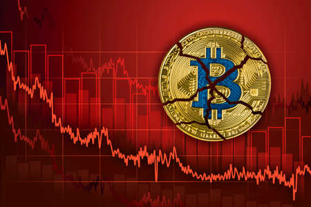 Broken bitcoin. Fall in exchange and decrease of value cryptocurrency. Falling downtrend price graph background.