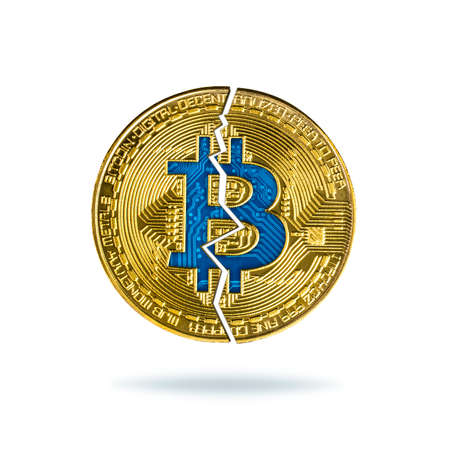 Broken bitcoin isolated on white background. Fall in exchange and decrease of value cryptocurrency.
