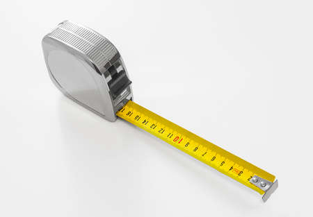 Building tape measure, mechanical roulette isolated on white background Banque d'images - 96638087