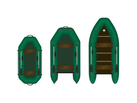 Vector illustration of Inflatable rubber green boat on white background