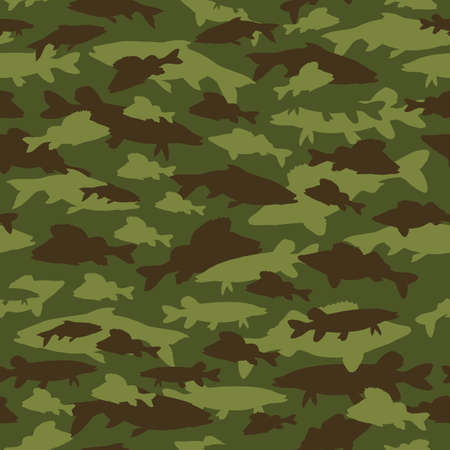 Seamless pattern of fishing camouflage. Camo of vector fish