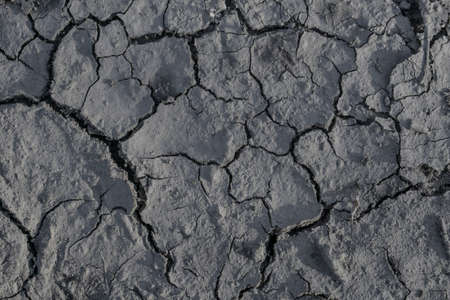 Drought. Cracks in the dry ground. Natural grey background 版權商用圖片