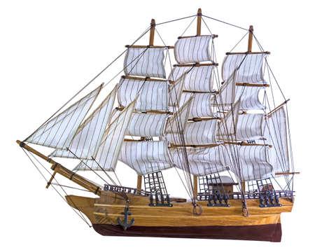 Model sailing ship isolated on white background Stock Photo