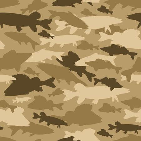 Seamless vector pattern of fishing camouflage. Khaki camo of freshwater fish Reklamní fotografie
