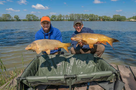 Carp fishing. Two fisherman with fish trophy in hands at lake