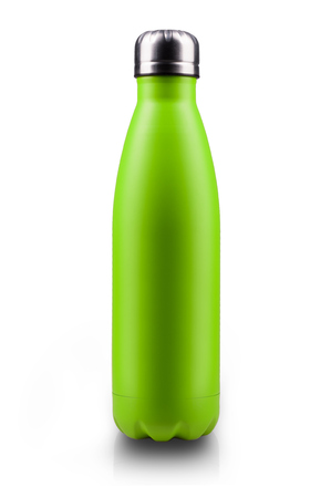 Stainless  water bottle, isolated on white background. Light green color. Vertical photo. Stock Photo