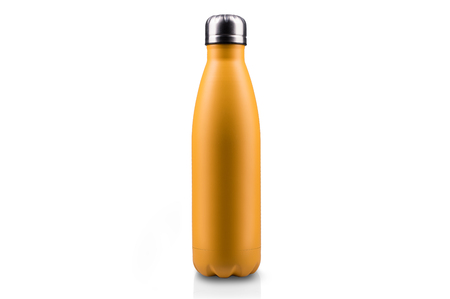 Yellow-matte, empty stainless  water bottle close-up isolated on white background. Studio photography. Stock Photo