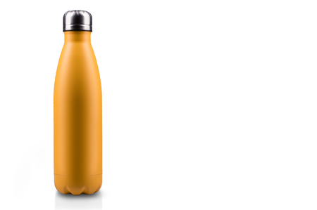 Yellow-matte, empty stainless  water bottle close-up isolated on white background. Studio photography. Stok Fotoğraf