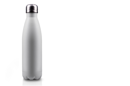 White-matte, empty stainless  water bottle close-up isolated on white background. Studio photography.
