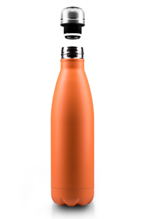Opened stainless thermo water bottle, empty mockup close-up isolated on white background. Orange color.
