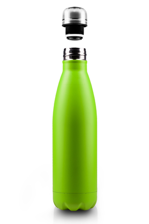 Opened stainless thermo water bottle, empty mockup close-up isolated on white background. Light green color. 스톡 콘텐츠