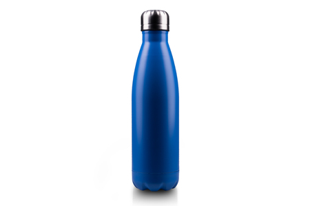 Blue stainless thermo water bottle, close-up, empty mockup isolated on white background. Stock Photo