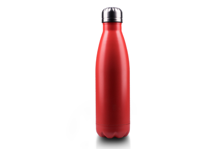 Red stainless thermo water bottle, close-up, empty mockup isolated on white background.