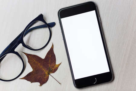 Autumn concept and smartphone with mockup screen