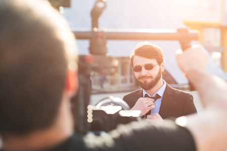 Behind the scene of hipster bearded businessman. 写真素材