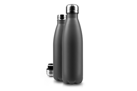 Black empty thermo bottle and lid, isolated on white.