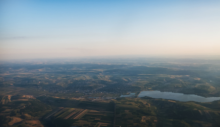 Top view of earth, landscape of agriculture of Moldova.