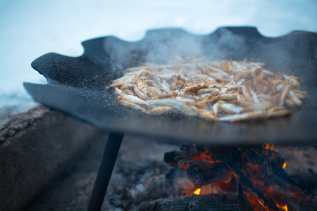 Cooking fish in a flat pan on the bonfire outdoor of winter
