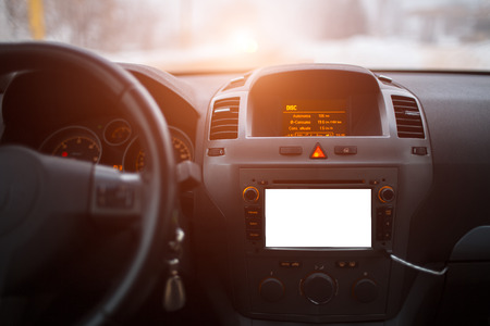 Close-up of car dashboard with mockup on audio system 版權商用圖片