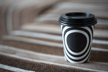 Black and white stripes on the cup of coffee. 写真素材