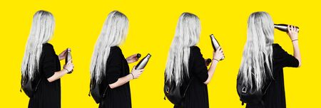 Collage of portraits, back view of young girl with white hair, opened and drinking water from reusable, steel thermo water bottle, wearing black clothes and backpack. Isolated on yellow background.