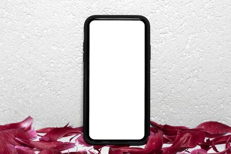 Close-up of modern smartphone with white mockup on screen beside red petals of flower. Textured abstract background of white wall.