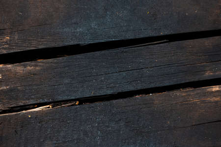Natural abstract textured background of black wooden boards.